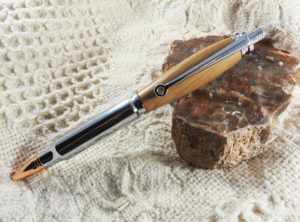 .30 Caliber Click Pen Turned in Redbud, Chrome Finish with Rose Gold Tip