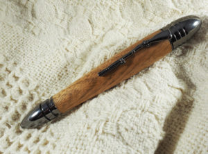 Civil War Pen, Turned in Butternut with a Gunmetal Finiah
