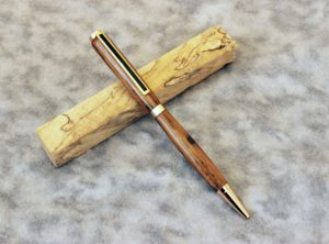 Slimline Pen in American Chestnut with a 24k Gold Finish