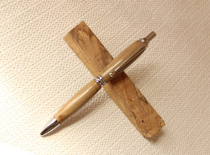 Power Pen in Spalted Holly with Chrome Finish