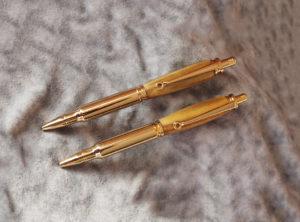 .30 Caliber Click Pen and Pencil Set 24K Gold Staghorn Sumac