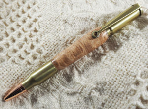 .30 Caliber Twist Pen in Spalted Maple Burl, Antique Brass Finish with a Scope Clip and Rose Gold Tip