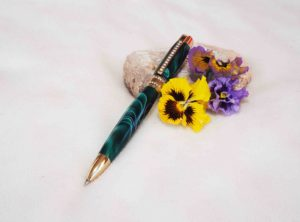 Princess Pen 24K Gold with White Crystals and Turned in Green Swirl Acrylic