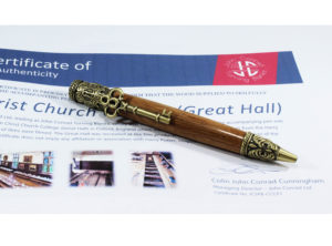 Skeleton Key Twist Pen Turned in Wood from Christ Church College (Great Hall), in Antique Brass