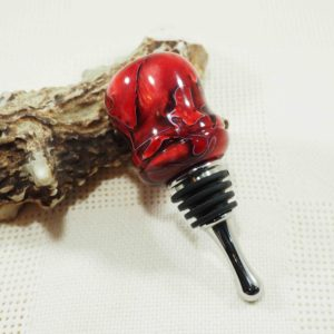 Stainless Steel Teardrop Bottle Stopper in Raspberry Mesh